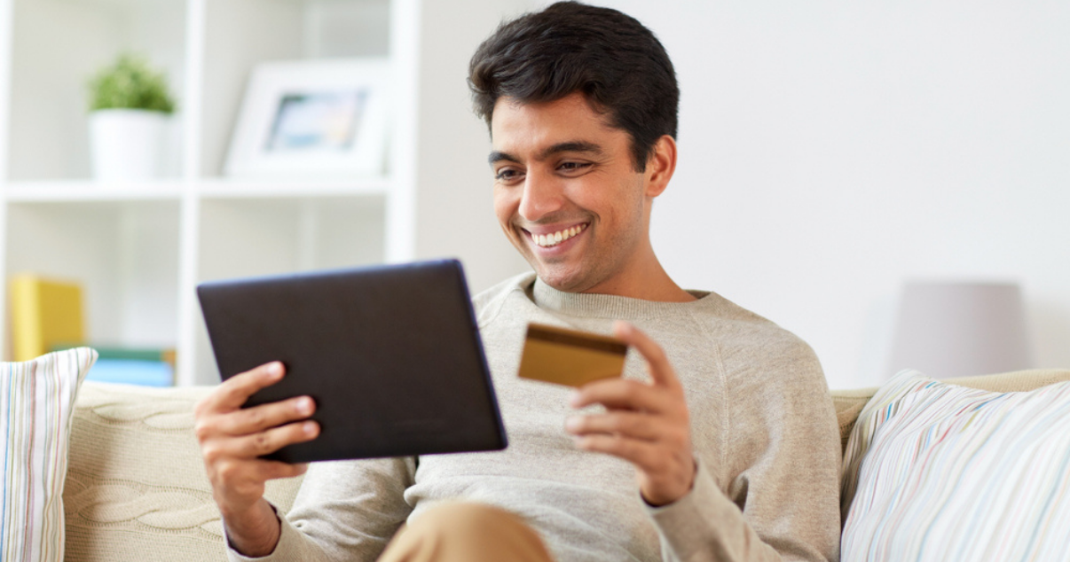 Man is excited about her ecommerce subscription and B2C relationship with Billforward's recurring billing platform