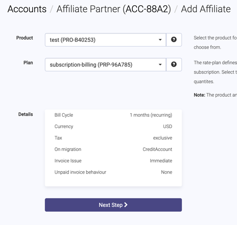 Add affiliate plan page