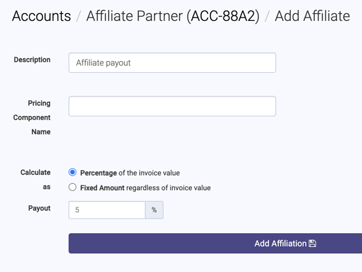 Add affiliate payout page